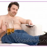 Overweight man on the couch